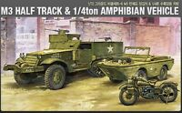 ACADEMY #13408 1/72 Plastic Model Kit M3 Half Track & 1/4ton Amphibian Vehicle