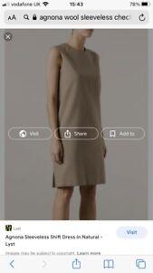 Agnona Checked Sleevless Silk Blend Shift Dress Size 12 / Italian  44  New
