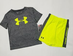 Boy's UNDER ARMOUR Shirt & Shorts 2 Piece Gray & Yellow Size 6; NWT