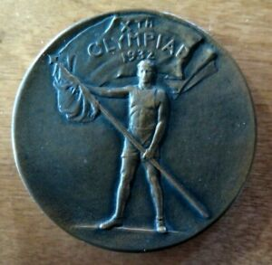 OLYMPICS 1932 MEDALLION WHITEHEAD HOAG BRONZE LOS ANGELES GAMES PARTICIPATION