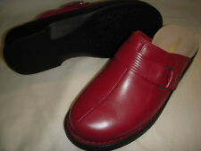 Clarks Patty Lorene Leather Slip-On Clogs Mules Shoes Womens 7 XW Red ~