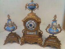 Antique Porcelain Panel French Striking Mantel Clock & Garnitures