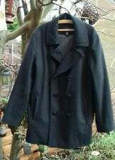 """Men's Lands End Wool Mix Grey Pea Double Breasted Coat XL Pit to Pit 26"""" - VGC"""
