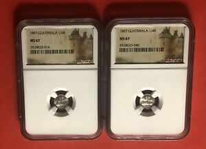 GUATEMALA-1897-2 OUTSTANDING UNC 1/4 REAL SILVER COINS .GRADED BY NGC MS67.