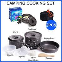 9pcs Cookware Travel Outdoor Camping Cooking Picnic Bowl Pot Pan Set Hiking