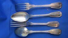 2 anciens couverts fourchettes cuilleres metal argenté XIXe poinçonnes au filet