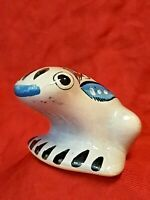 Vintage Tonala Pottery FROG  Mexican Folk Art Hand Painted  Mexico Signed 3""