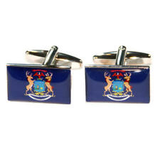 Dark Blue Michigan Us American State Flag Cufflinks With Gift Pouch Flags New
