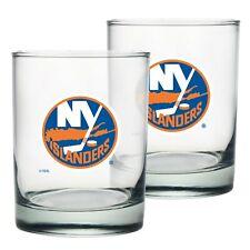 New York Islanders 13.5oz. NHL Heavy Base Rocks Glass Gift Box Set (2-Pack)
