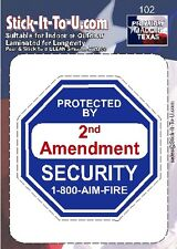 Protected by 2nd Amendment – Decal Sticker - Gun Security