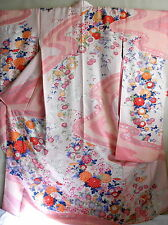 "Japanese kimono ""FURISODE"" long Sleeves ,  UME, KIKU,SILK 66"",SHIBORI dye, 297"