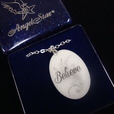Double Sided Beautiful White Angel Believe Pendant Necklace Blue GlitterGift Box