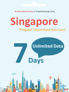 $1.9/day 7 Days Singapore Prepaid Travel data SIM card UNLIMITED DOWNLOAD