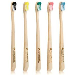 HASH DIRECT® Bamboo Toothbrush Biodegradable Wooden Eco Pack 5 Medium Bristles