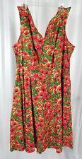Bernie Dexter Swan Dress Poppy Print Size 4x Plus Size Pin Up Rockabilly Swing