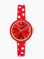 NEW KATE SPADE PARK ROW SCATTERED HEARTS RED GOLD VALENTINE WATCH KSW1483 NIB