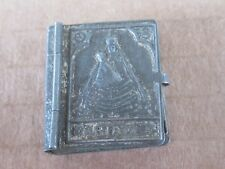 ANTIQUE RELIGIOUS MINIATURE TIN POCKET BOOK SHAPED BOX AND MEDAL-19th c