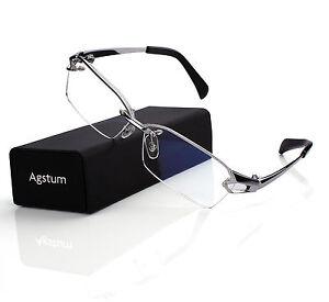 Pure Titanium Retro Half Rimless Glasses Frame Optical Eyeglasses Clear Lens Rx