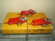 DINKY TOYS No.27c  3 x MANURE SPREADER'S IN TRADE BOX