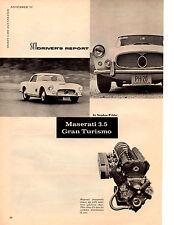 1959 MASERATI 3.5 GRAN TURISMO  ~  ORIGINAL 8-PAGE ROAD TEST / ARTICLE / AD