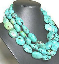 "Beautiful Natural Charm Green Turquoise 13*18mm Beads Necklace 48"" Long Bib"