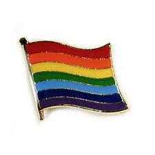 "RAINBOW FLAG LAPEL PIN 0.5"" Gay Lesbian Pride LGBT Hat Tie Tack Badge Pinback"