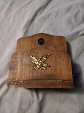 Vintage Brown Wood Eagle Crest Home Office Desktop Letter Holder