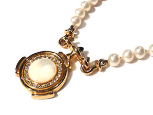 Bijou alliage doré collier perles fantaisies haute couture Carita necklace