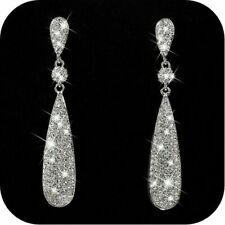 Chic 925 Silver Diamond Dangle Earrings Wedding Long Drop Stud Earring Jewelry