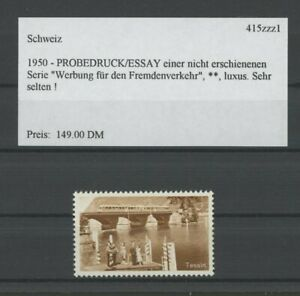 SWITZERLAND SPECIMEN 1950 ESSAY TEST PRINT PROOF TESSIN BRIGDE TRAIN /m2156