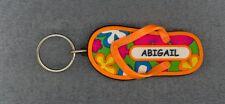 ABIGAIL Rubber Flip Flop Name Key Ring Keychain Stocking Stuffer Flower Power
