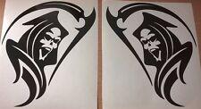 2x grim reaper tribal flames stock car racing vinyl graphic sticker rear window
