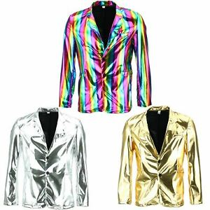 METALLIC BLAZER SUIT JACKET SHINY DISCO FESTIVAL PRIDE FANCY DRESS GOLD SILVER