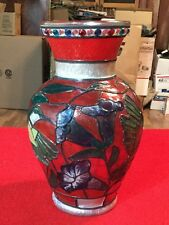 Awesome Hand Painted Hummingbird Vase Signed Artesian Cool