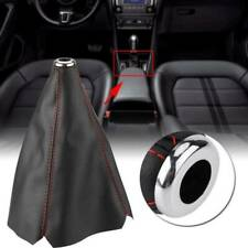 XUKEY Universal Gear Shift Knob Cover Red Stitch Gear Gaiter Cover PU Leather