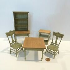 DOLLHOUSE MINIATURE ARTISAN MADE KITCHEN SET TABLE, 2 CHAIRS, HUTCH & CART GREEN