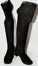 ZARA BLACK SUEDE & LEATHER OVER THE KNEE BOOT LOW HEEL UK 4  EURO 37 PRE-OWNED