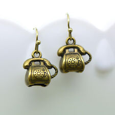 Telephone Earrings, Antique Bronze Finish Vintage Style Charm Pendant Earring