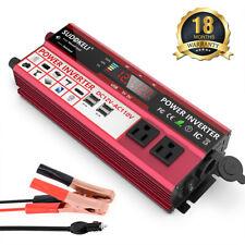 800W Watt LCD Power Inverter DC 12V AC 120V Car Converter 2 USB ports US Charger