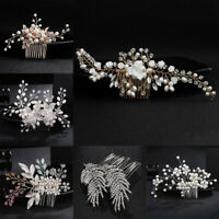 Women Fashion Pearl Hair Comb Flower Crystal Bridal Pins Clips Wedding Acces