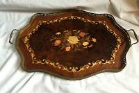 VINTAGE Large Polished Wooden Floral Insert Serving Tray Brass Frame