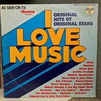 """1976 RONCO Compilation I LOVE MUSIC - 12"""" Vinyl Record LP - EX"""