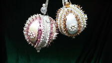 VINTAGE SEQUIN/BEADED CHRISTMAS ORNAMENTS LOT OF 2 PINK AND GOLD