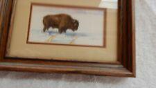 Miniature Watercolor Painting of a Buffalo titled Montana Winter