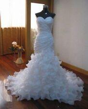 2018 White/Ivory Ruffled Organza Mermaid Bride Wedding Dress Bridal Gown Custom