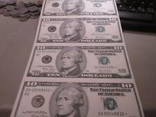 UNCUT SHEET OF 4  2003  10 DOLLAR US STAR NOTES