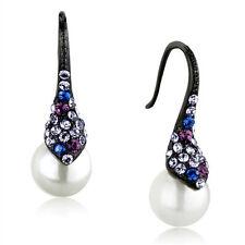 Pearl Crystal Earrings Black Stainless Steel Hook