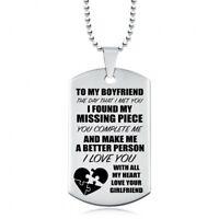 To My Boyfriend, I Found My Missing Piece Dog Tag, Stainless Steel