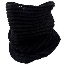 Women Lady Knit Neck Circle Cowl Warmer Scarf Shawl Wrap Loop Winter Black UK DT