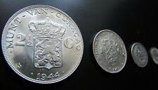 4 Silbermünzen Set Gulden 1944 Niederlande Wilhelmina Van-Curacao Art. 001-050